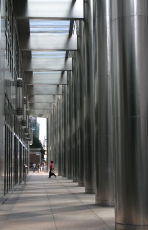 Silver pillars, Canary Wharf, London, UK
