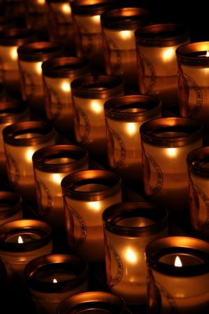 Candles inside Notre Dame
