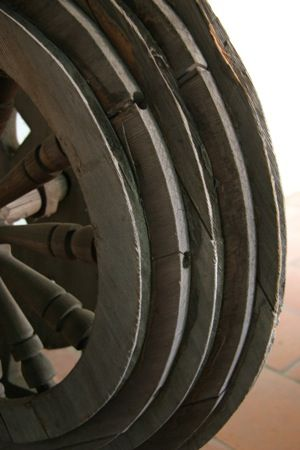 Spinning wheel at the Carmel Mission, California