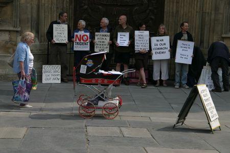 Protest outside Bath Abbey