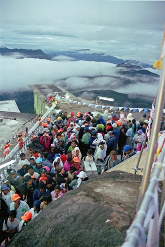 Despite the climb and ungodly hour, Adams Peak is a popular spot for tourists and pilgrims. Sri Lanka.