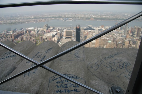 Graffiti at the top of the Empire State Building, New York