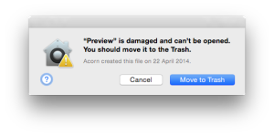 """""""Preview"""" is damaged."""